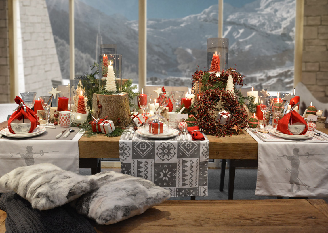 Table de Noël décoration montagne