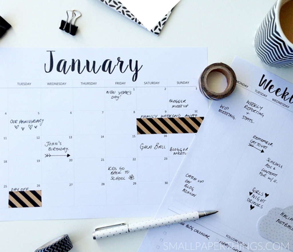 Calendrier small paper things 2016