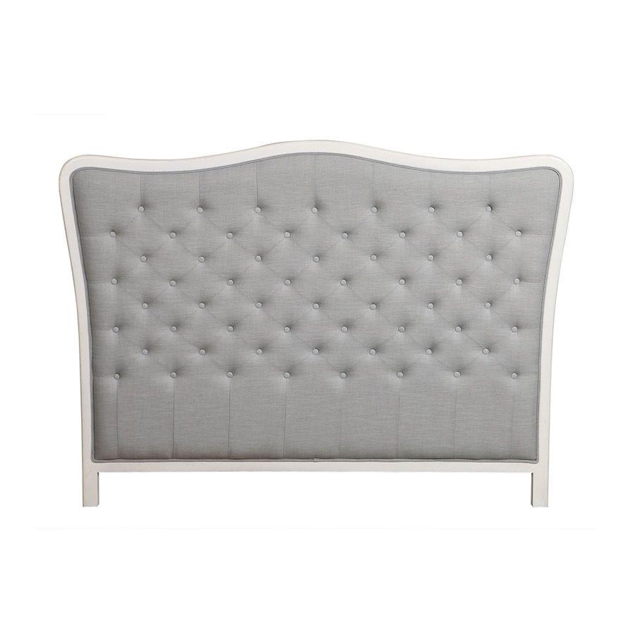Tête de lit romantique capitonnée grise piétement blanc