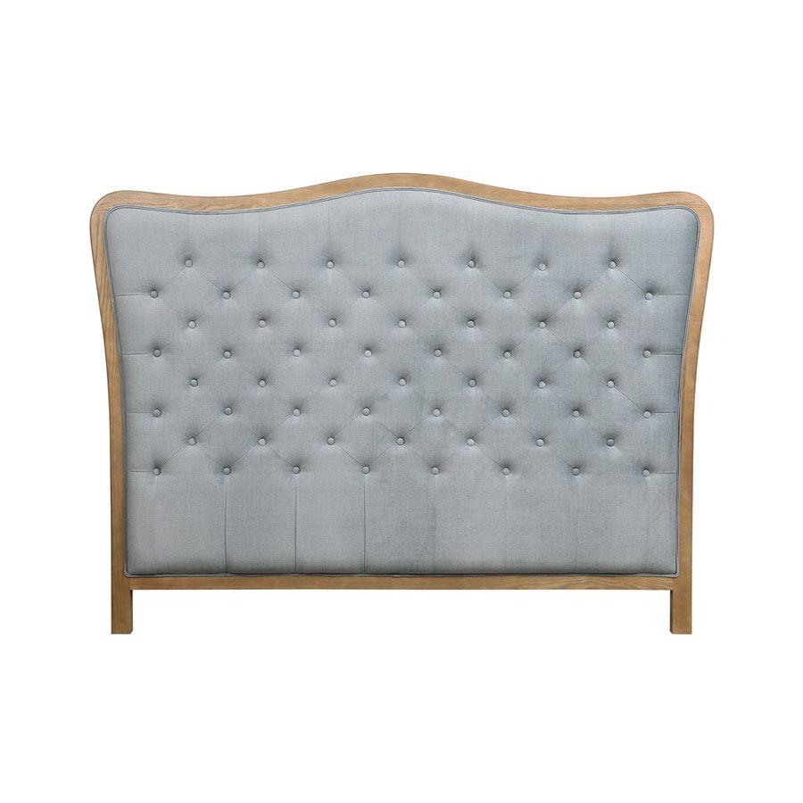 Tête de lit romantique capitonnée bleue piétement bois