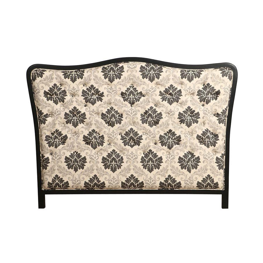 Tête de lit romantique capitonnée à motifs piétement noir