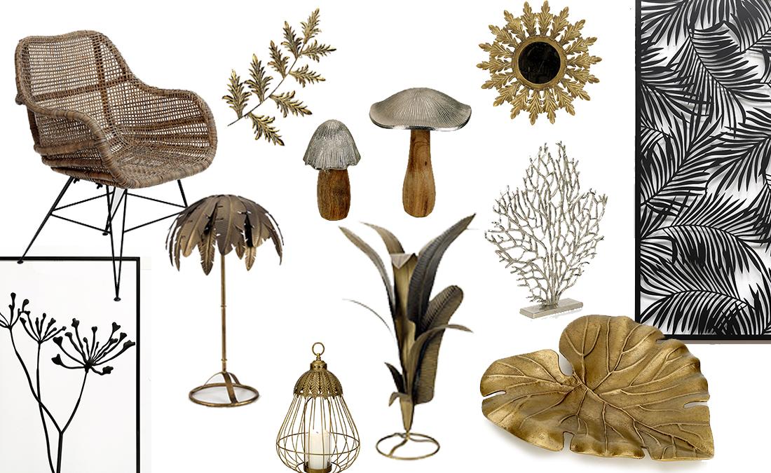 sélection déco métal doré et végétal