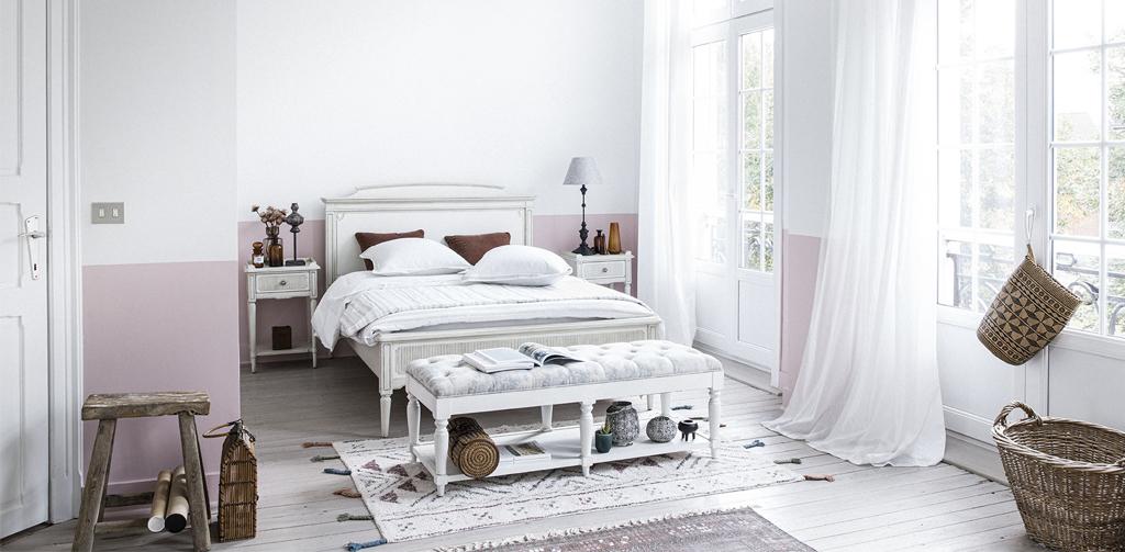 chambre style romantique blanche
