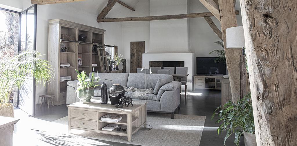 salon style industriel chic avec canapé gris, grande bibliothèque en bois et métal avec échelle et table basse en bois massif
