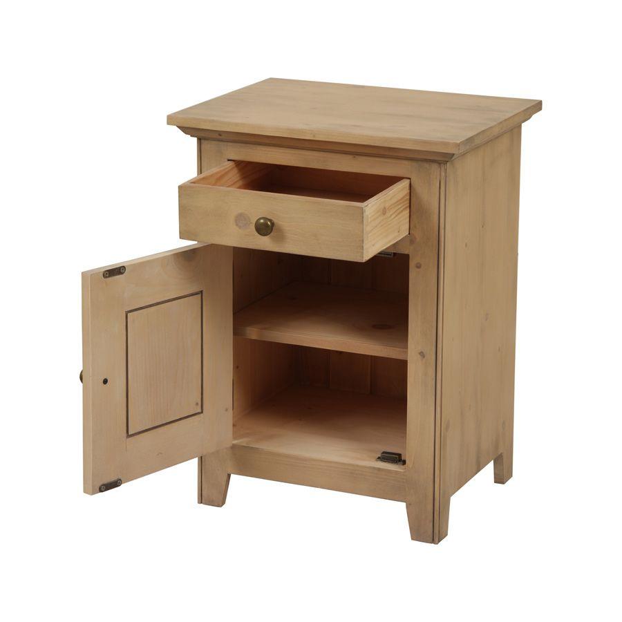 table de chevet 1 porte 1 tiroir naturel interior 39 s. Black Bedroom Furniture Sets. Home Design Ideas