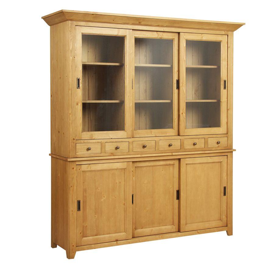 buffet vaisselier 3 portes vitr es naturel interior 39 s. Black Bedroom Furniture Sets. Home Design Ideas