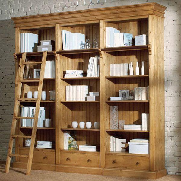biblioth que 250 cm 3 tiroirs naturel interior 39 s. Black Bedroom Furniture Sets. Home Design Ideas