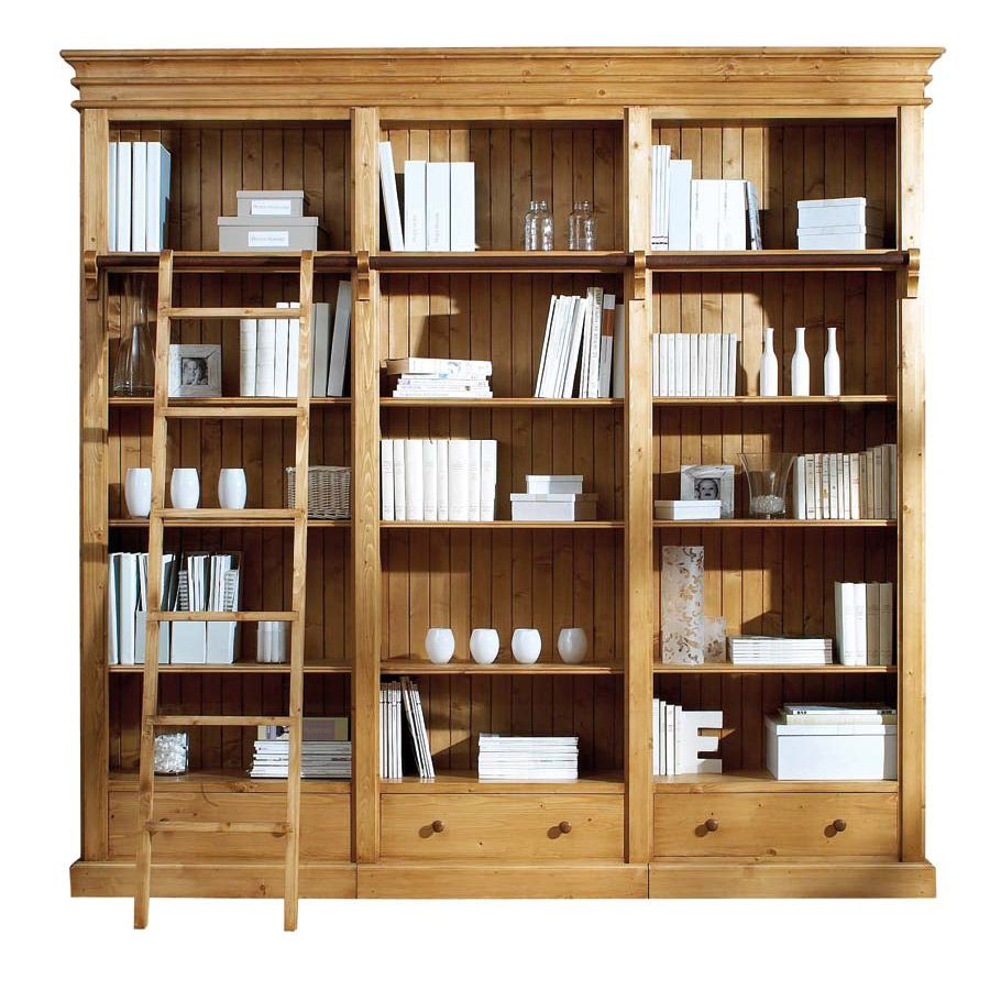 Biblioth que 250 cm 3 tiroirs naturel interior 39 s - Meuble de bibliotheque ...