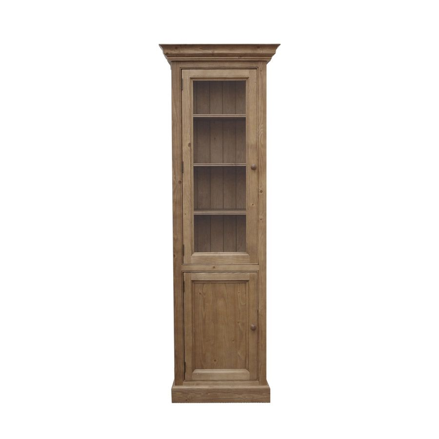 biblioth que 55 5 cm 1 porte vitr e 1 porte pleine naturel interior 39 s. Black Bedroom Furniture Sets. Home Design Ideas