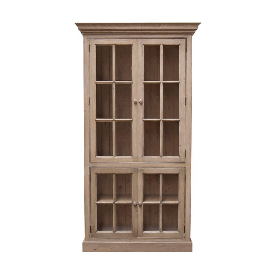 Bibliothèque 100 cm 4 portes vitrées