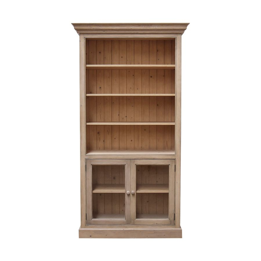 biblioth que 100 cm 2 portes vitr es naturel interior 39 s. Black Bedroom Furniture Sets. Home Design Ideas