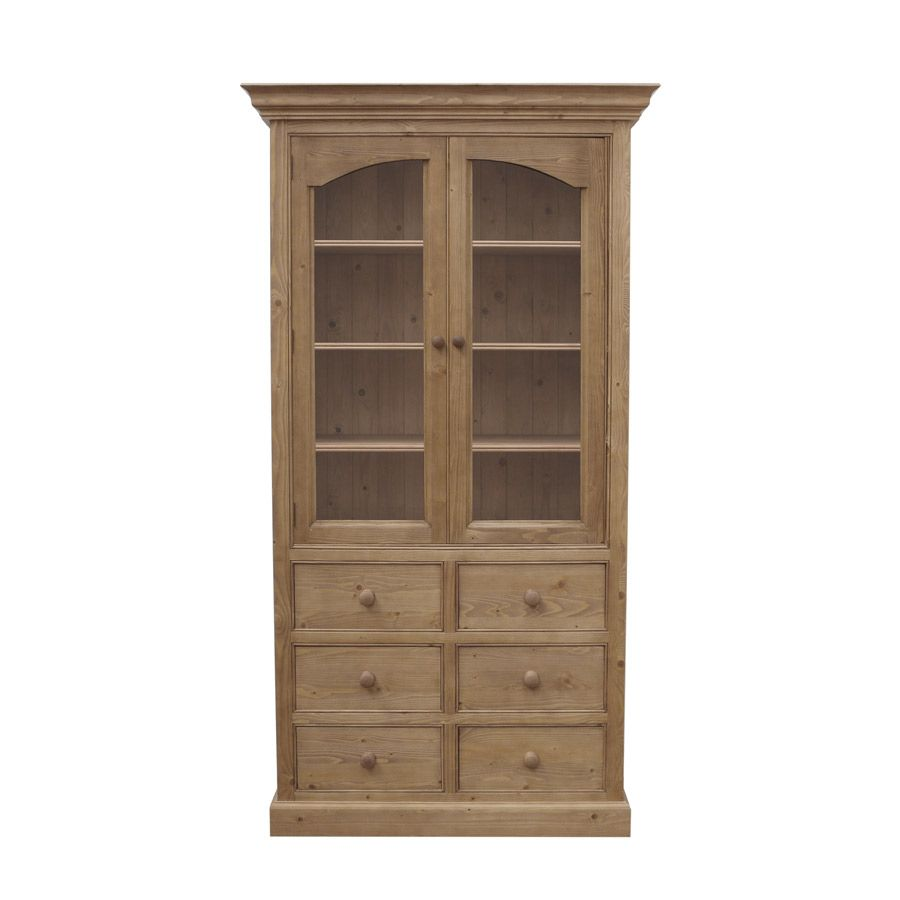 biblioth que 6 tiroirs 100 cm 2 portes vitr es naturel interior 39 s. Black Bedroom Furniture Sets. Home Design Ideas