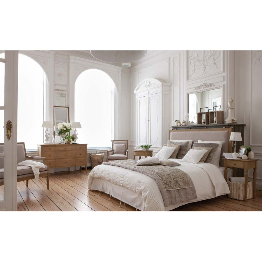 t te de lit en tissu 160 cm mathilde naturel interior 39 s. Black Bedroom Furniture Sets. Home Design Ideas