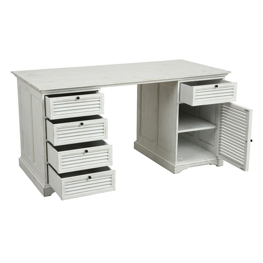 Bureau 5 tiroirs 1 porte blanc interior 39 s for Bureau 5 tiroirs