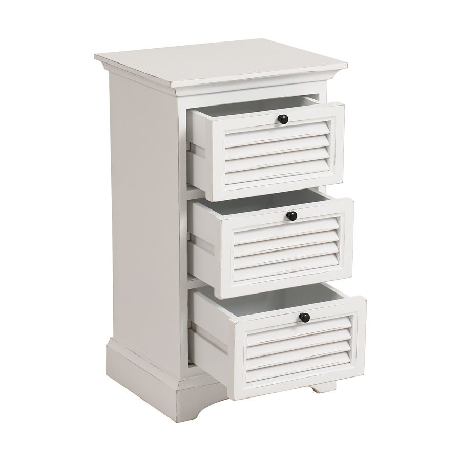 table de chevet 3 tiroirs blanc interior 39 s. Black Bedroom Furniture Sets. Home Design Ideas