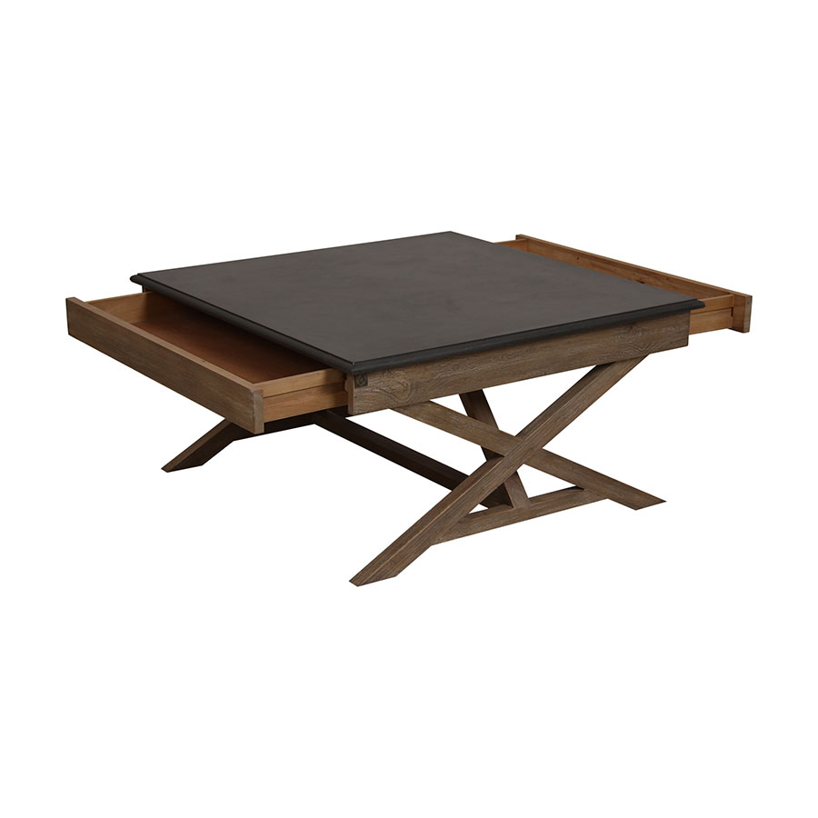 table basse carr e 2 tiroirs plateau b ton gris interior 39 s. Black Bedroom Furniture Sets. Home Design Ideas