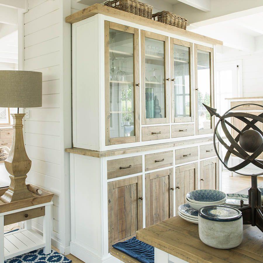 Buffet Vaisselier 4 Portes Vitr Es Naturel Interior S # Meuble De Salon Interiors Vaissellier