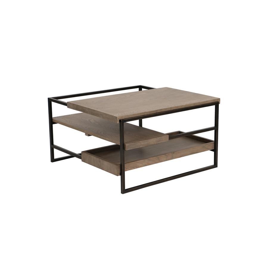 table basse carr e plateaux coulissants naturel interior 39 s. Black Bedroom Furniture Sets. Home Design Ideas