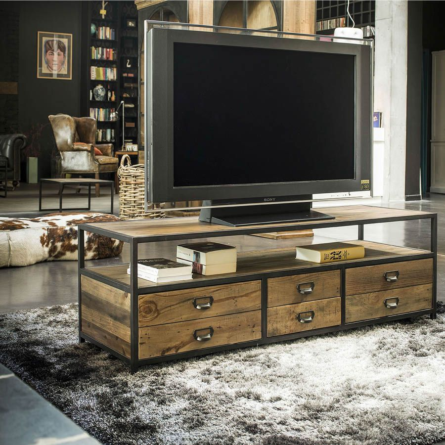 meuble tv hifi marron interior 39 s. Black Bedroom Furniture Sets. Home Design Ideas