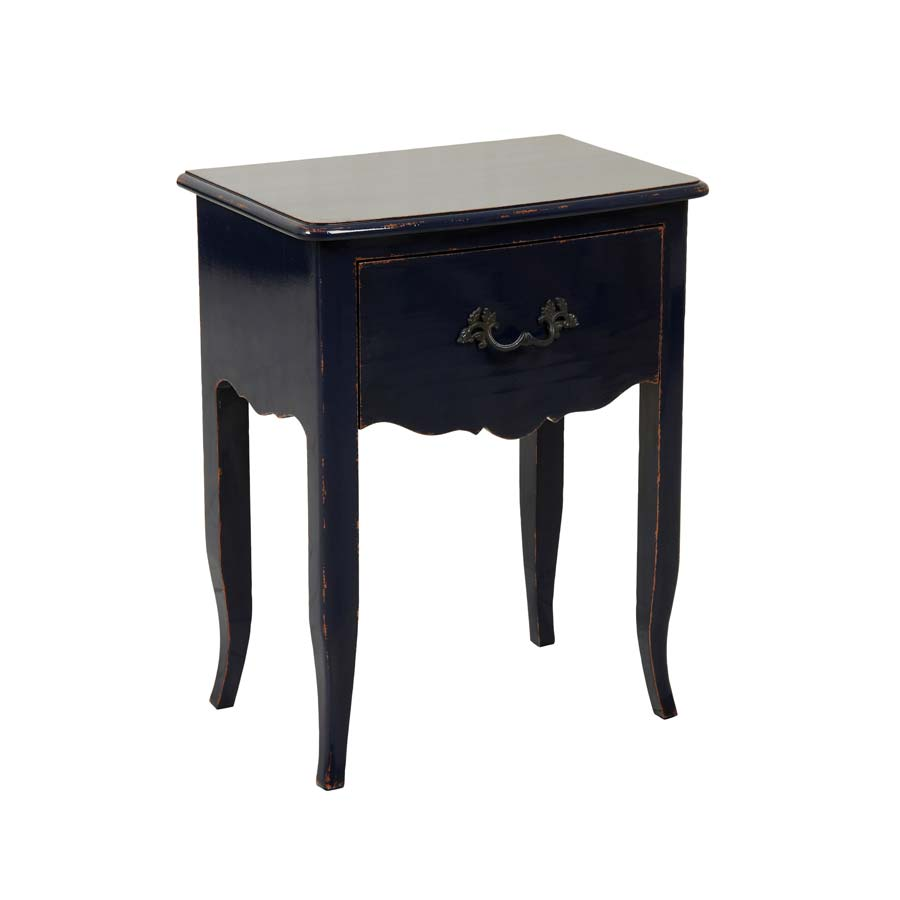 table de chevet 1 tiroir bleu interior 39 s. Black Bedroom Furniture Sets. Home Design Ideas