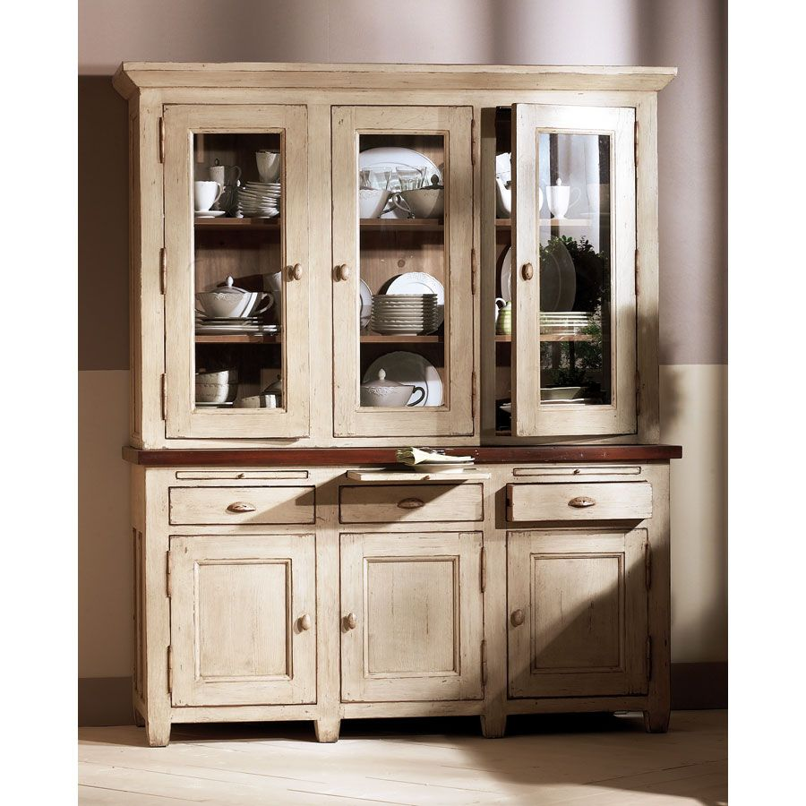 Haut de buffet vaisselier 3 portes vitr es beige for Buffet et table salle a manger