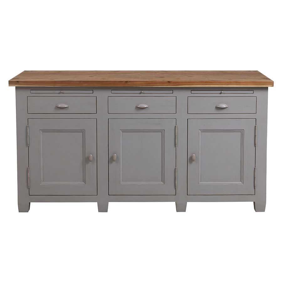 Buffet bas de cuisine 10 portes en pin gris perle vieilli - Brocante