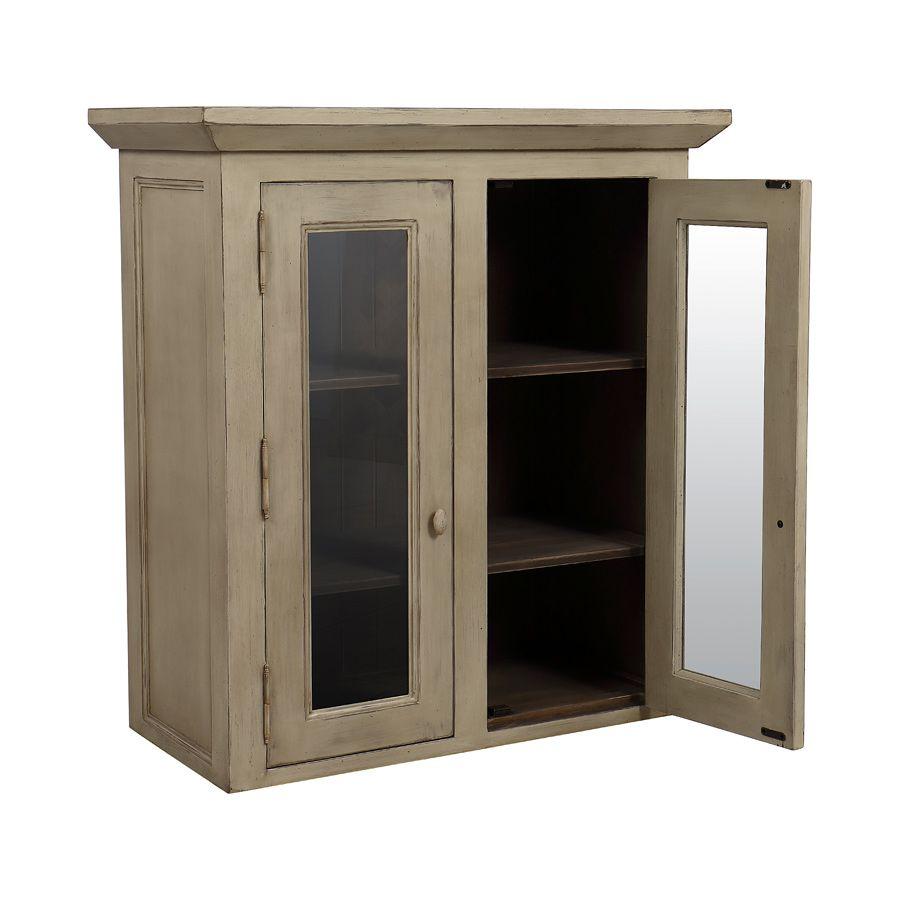 haut de buffet vaisselier 2 portes vitr es beige. Black Bedroom Furniture Sets. Home Design Ideas