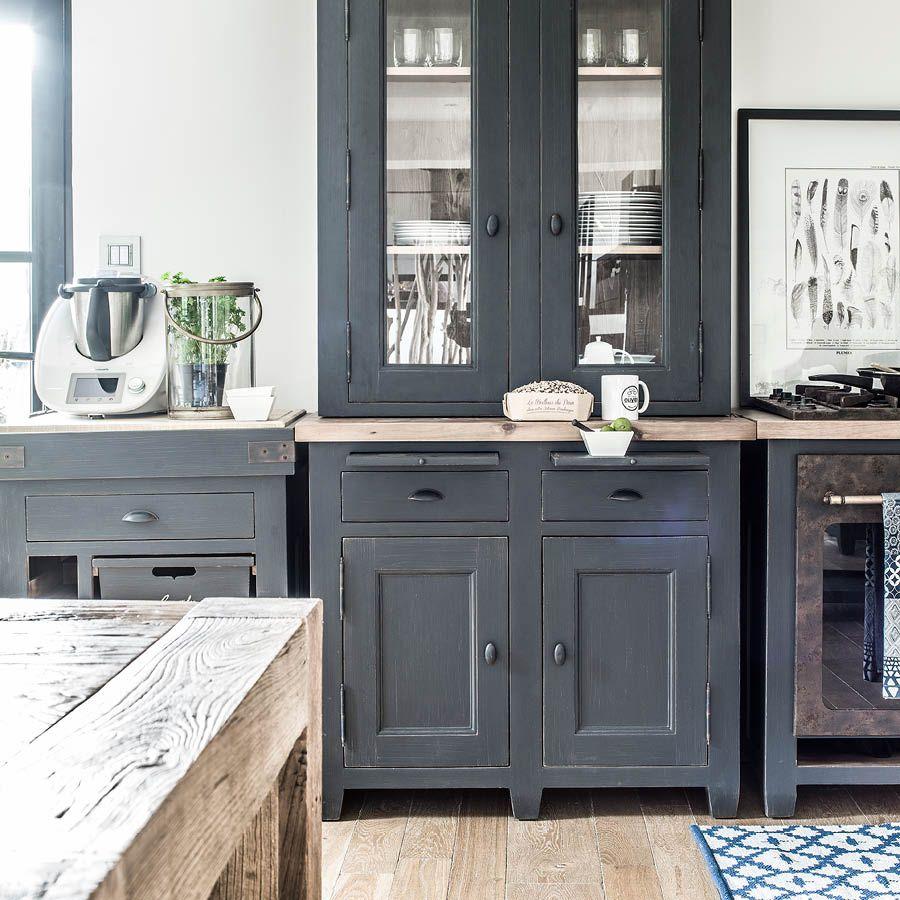 haut de buffet vaisselier 2 portes vitr es noir interior 39 s. Black Bedroom Furniture Sets. Home Design Ideas