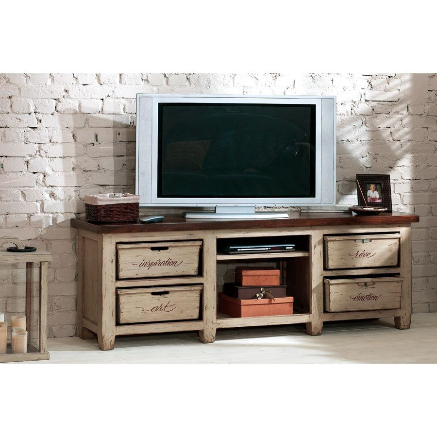 meuble tv hifi 4 tiroirs beige interior 39 s. Black Bedroom Furniture Sets. Home Design Ideas