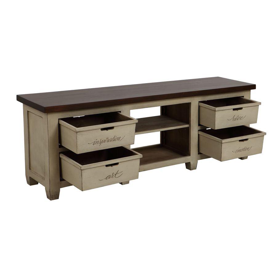 Meuble tv hifi 4 tiroirs beige interior 39 s for Meubles 4 tiroirs