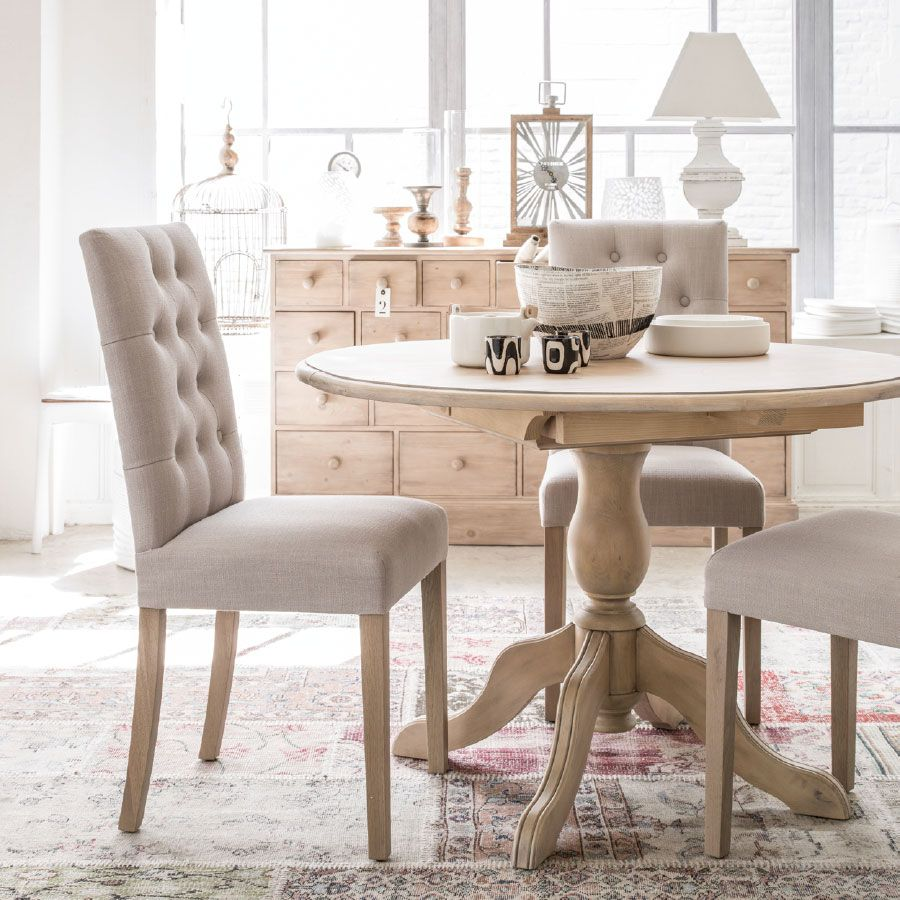 chaise en tissu capitonn et fr ne albane beige interior 39 s. Black Bedroom Furniture Sets. Home Design Ideas