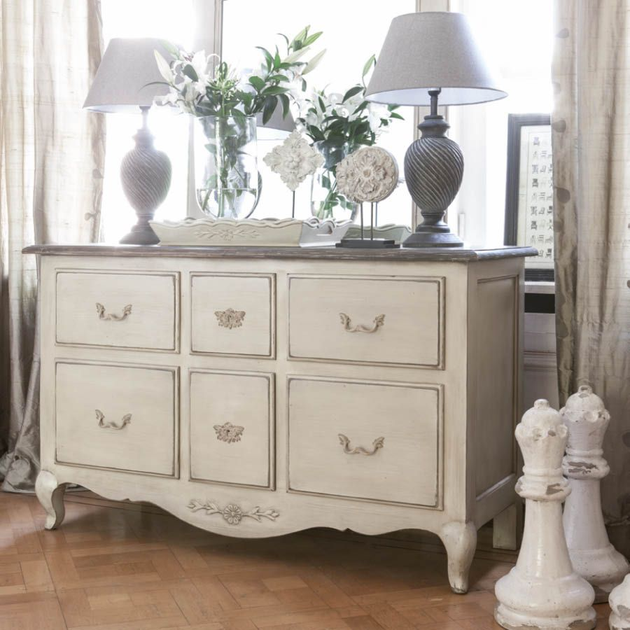 Commode 6 tiroirs beige interior 39 s for The country corner