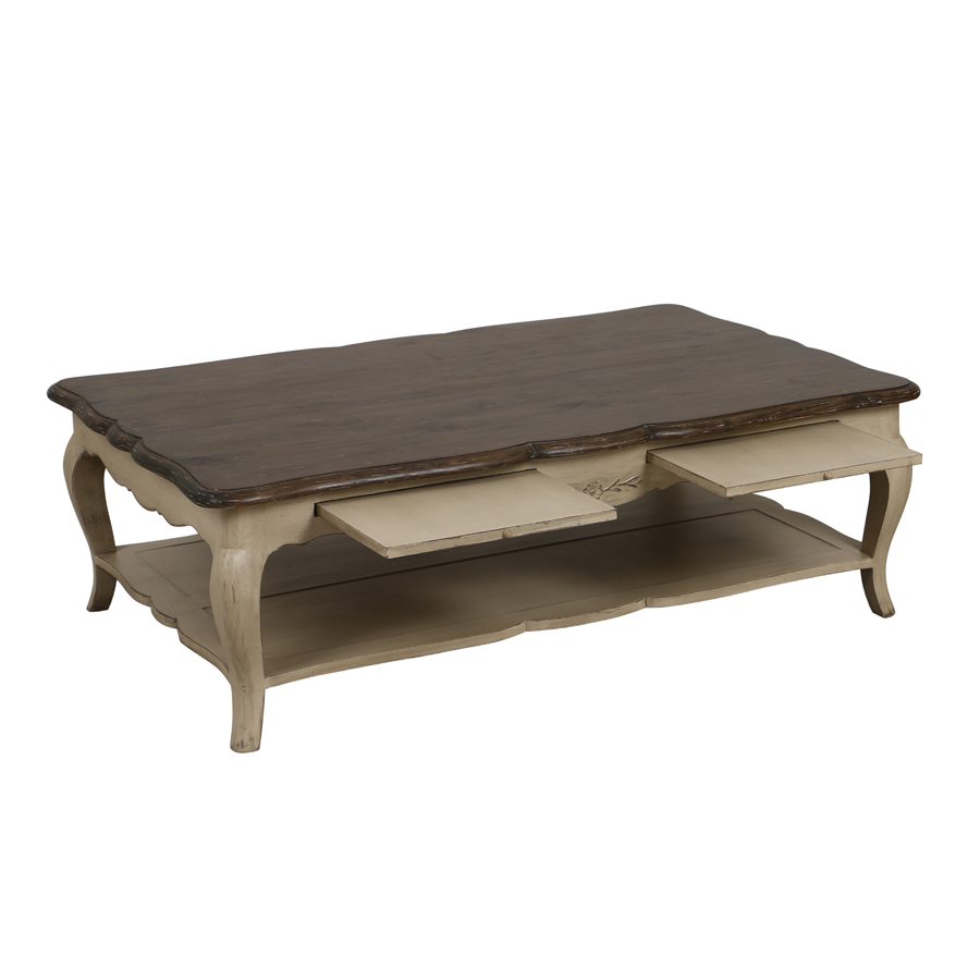 table basse rectangulaire 2 tirettes beige interior 39 s. Black Bedroom Furniture Sets. Home Design Ideas