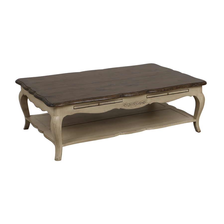 Table basse rectangulaire 2 tirettes beige interior 39 s - Table salon rectangulaire ...