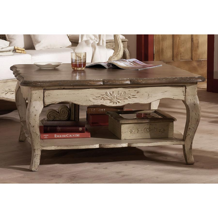 table basse carr e 2 tiroirs beige interior 39 s. Black Bedroom Furniture Sets. Home Design Ideas