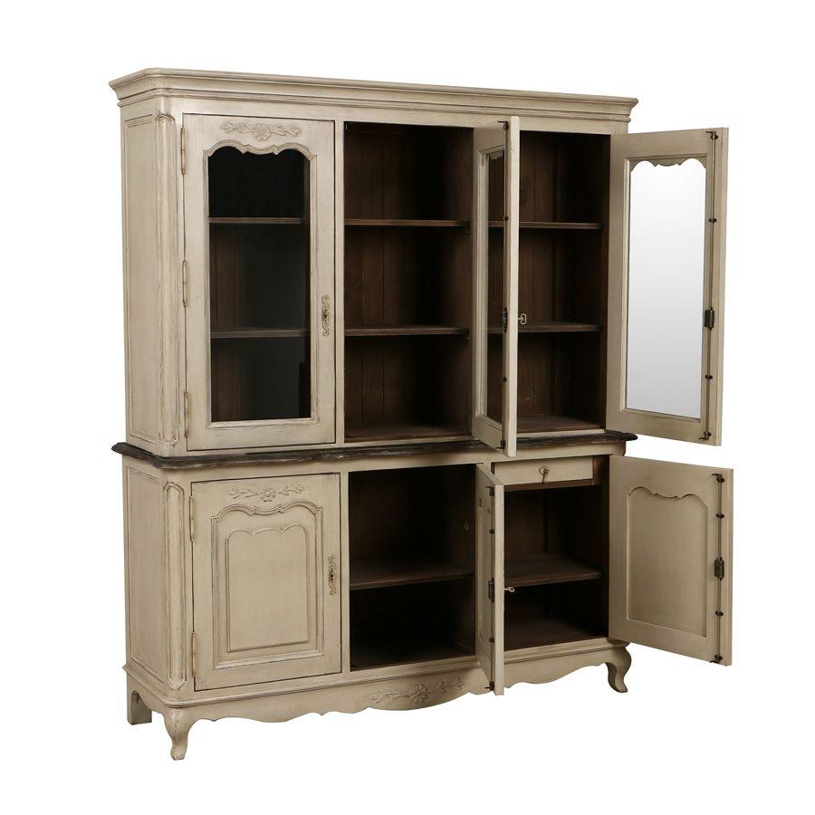 buffet vaisselier 3 portes vitr es beige interior 39 s. Black Bedroom Furniture Sets. Home Design Ideas