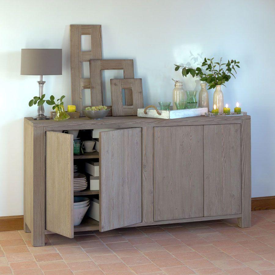 buffet bas 4 portes naturel interior 39 s. Black Bedroom Furniture Sets. Home Design Ideas