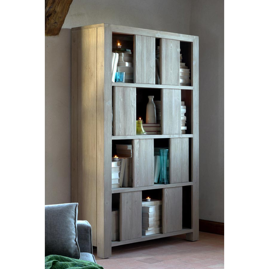 biblioth que 8 portes 110 cm naturel interior 39 s. Black Bedroom Furniture Sets. Home Design Ideas