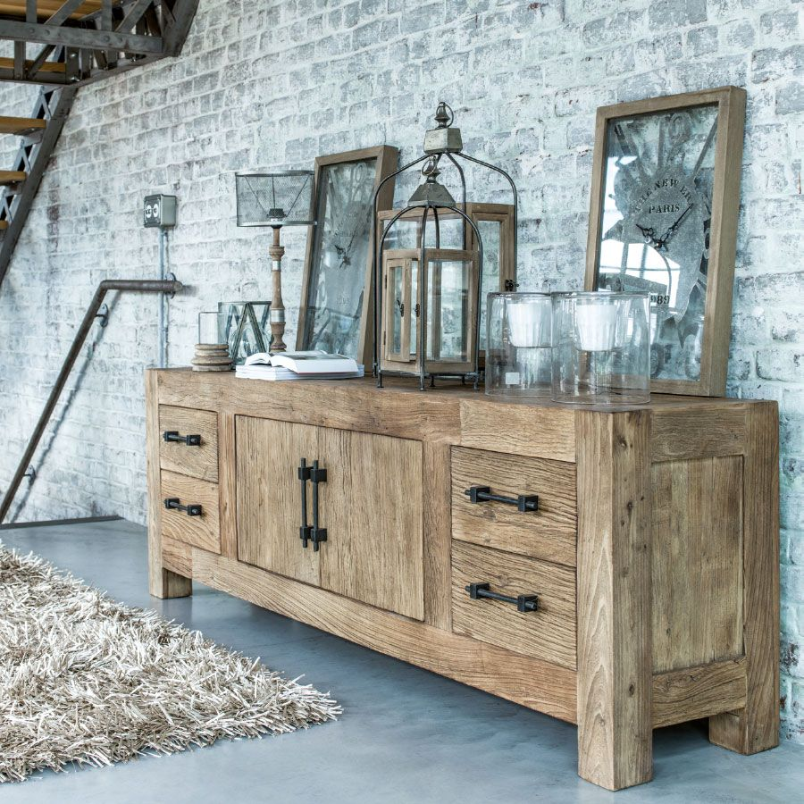 buffet bas 2 portes 4 tiroirs naturel interior 39 s. Black Bedroom Furniture Sets. Home Design Ideas