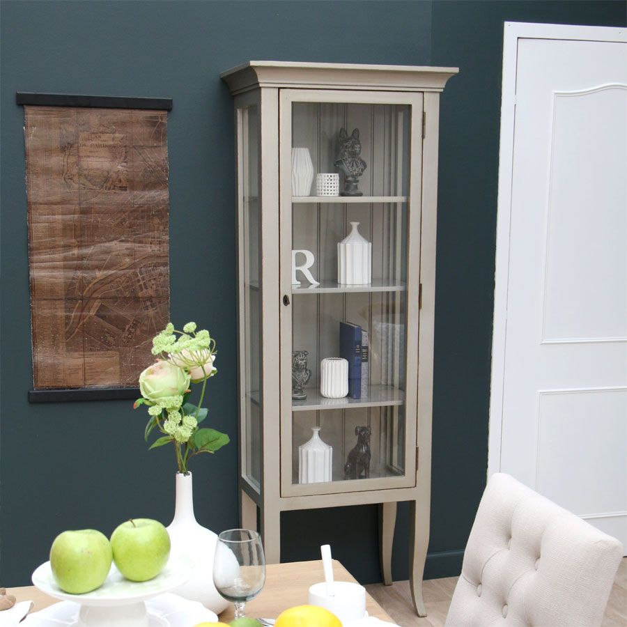vitrine 1 porte gris interior 39 s. Black Bedroom Furniture Sets. Home Design Ideas