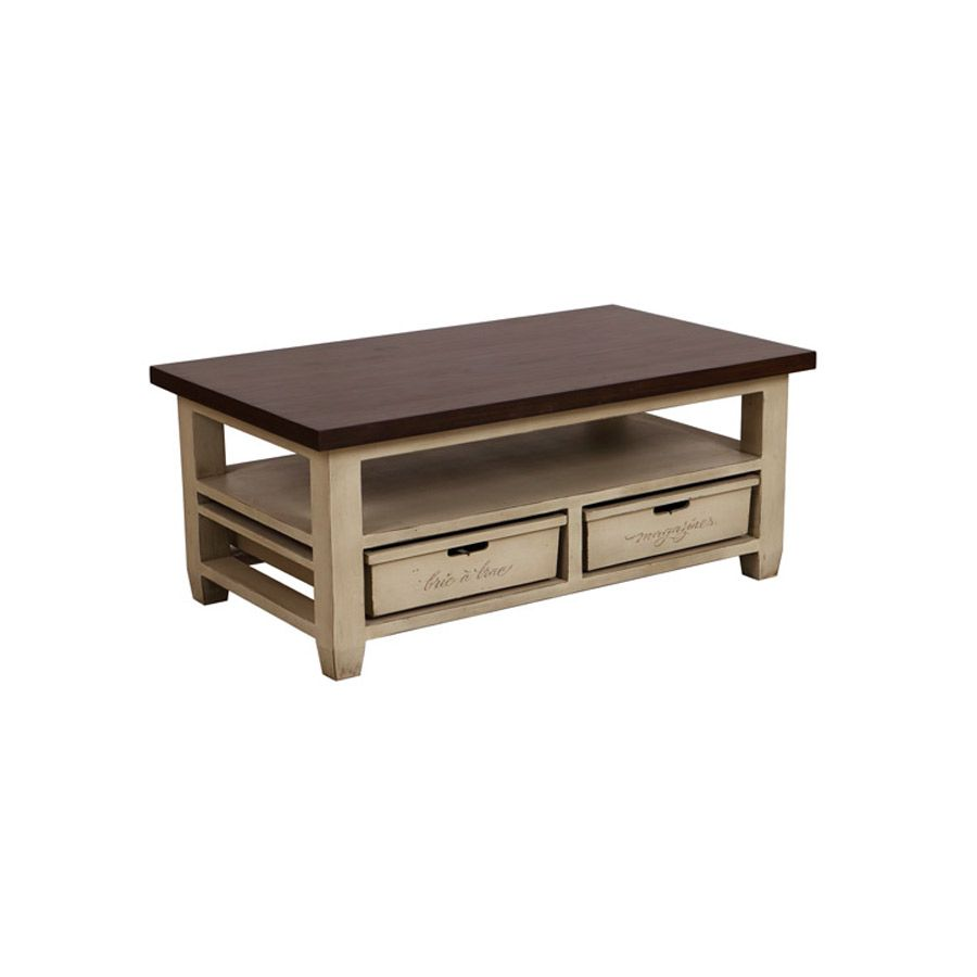 Table basse rectangulaire 2 tiroirs beige interior 39 s - Table basse laquee beige ...
