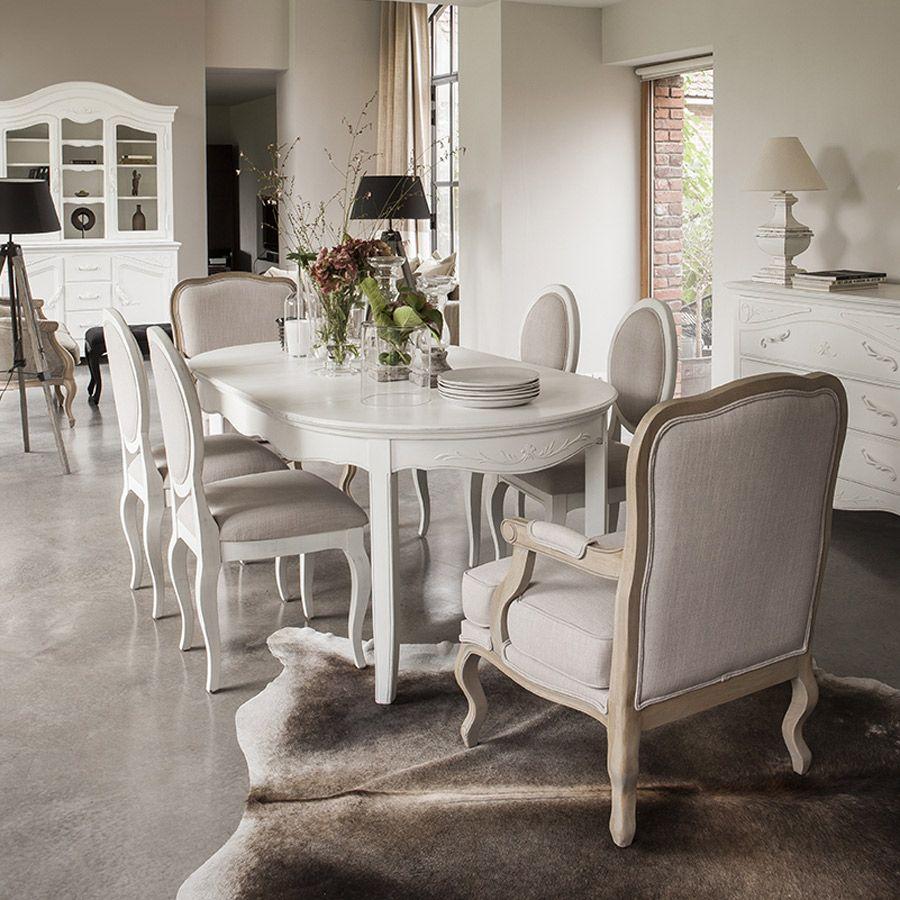 Table Ovale Extensible Blanche 4 à 8 Personnes Lubéron