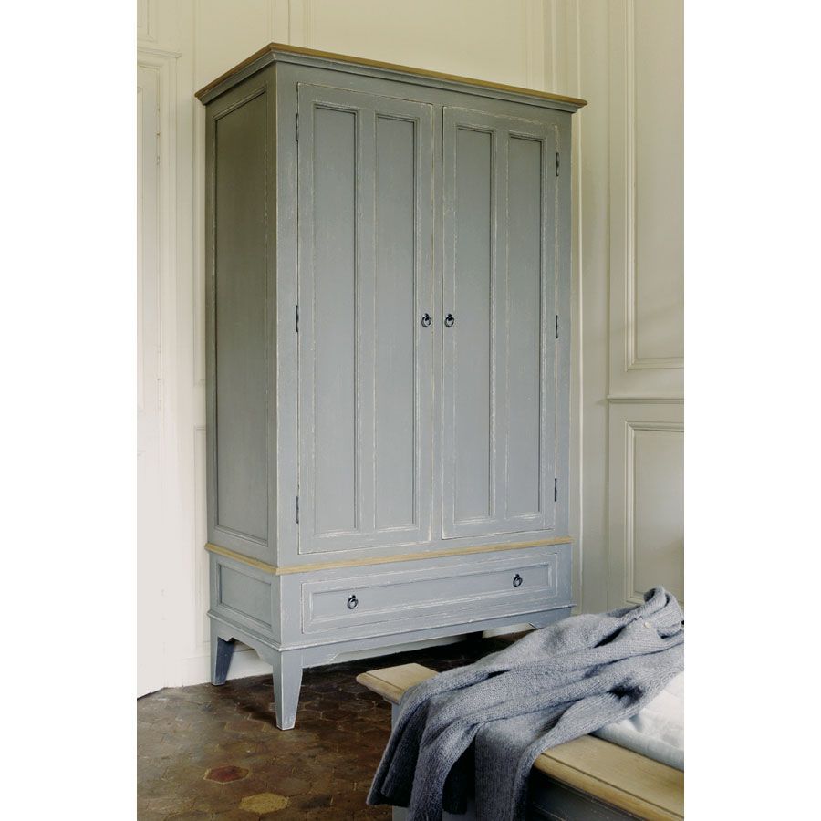 armoire 2 portes 1 tiroir gris interior 39 s. Black Bedroom Furniture Sets. Home Design Ideas