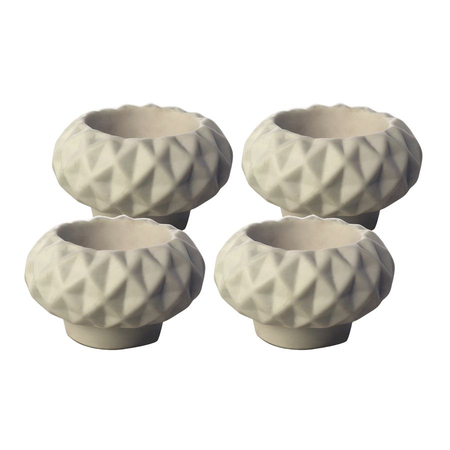 Bougeoirs en porcelaine blancs (lot de 4)