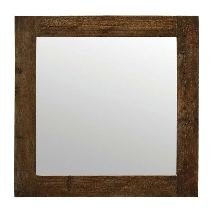 Miroir carr naturel marron interior 39 s for Petit miroir carre