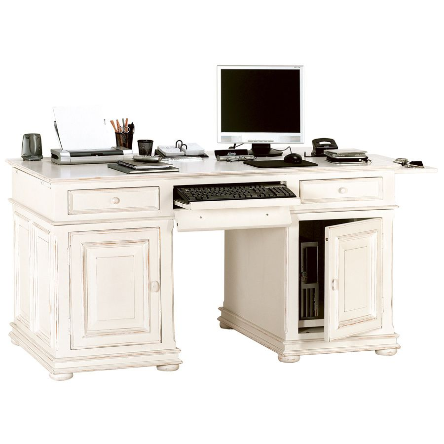 bureau informatique 2 tiroirs 2 portes blanc interior 39 s. Black Bedroom Furniture Sets. Home Design Ideas