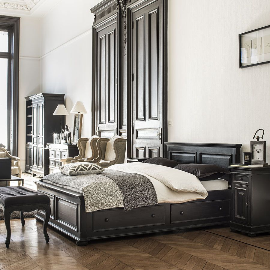 lit tiroirs 2 personnes 160x200 cm noir interior 39 s. Black Bedroom Furniture Sets. Home Design Ideas