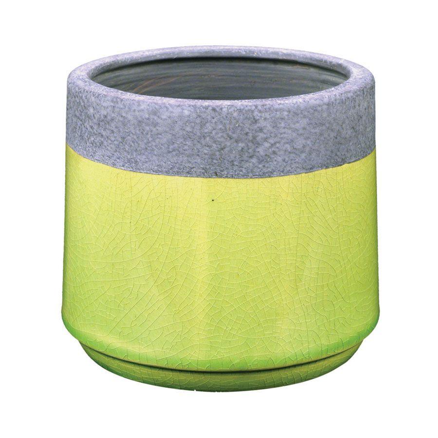 cache pot en c 233 ramique vert interior s