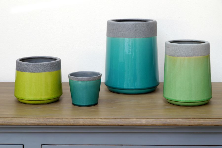 Cache pot en c ramique vert interior 39 s for Pot ceramique exterieur