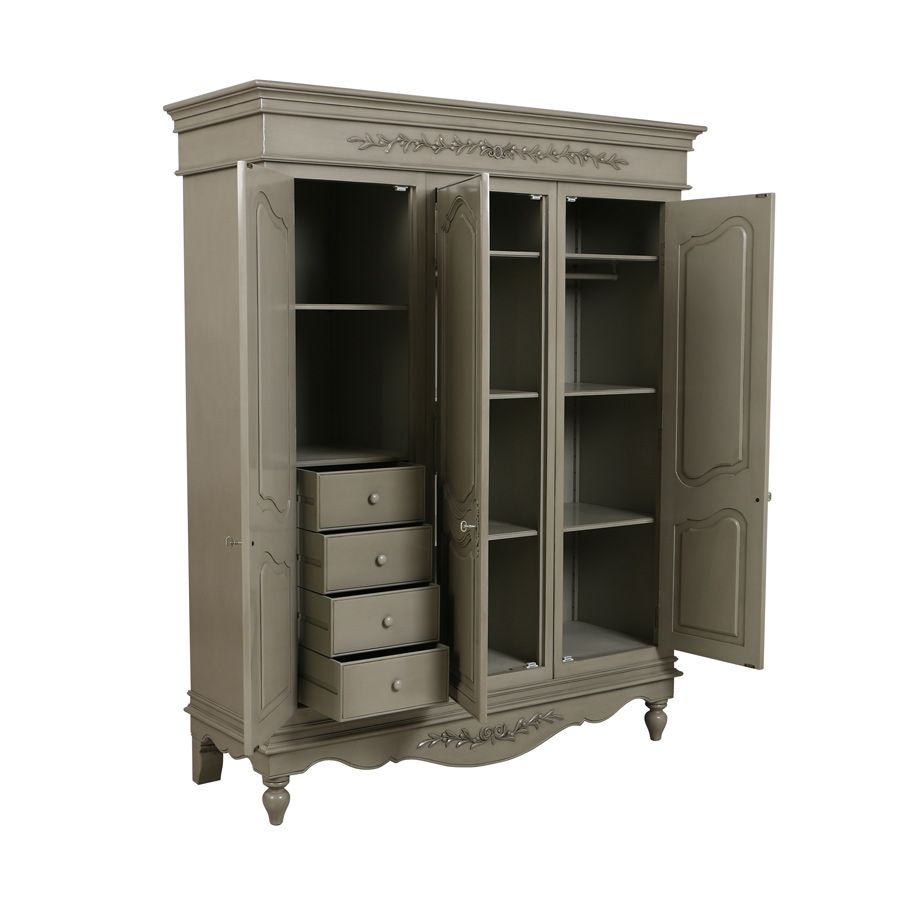 armoire 3 portes gris interior 39 s. Black Bedroom Furniture Sets. Home Design Ideas